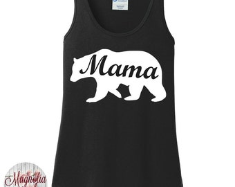 Mama Bear, Mom Life, Women's Tank Top in 6 Colors, Sizes Small-4X, Plus Size
