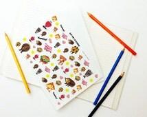 Eat Me! Series Set 01, Snack and Beverage Art Sticker, Planner Sticker, Weekly Stickers, Erin Corden, Vegetable Series, Kawaii Stickers