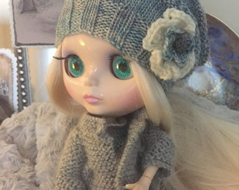 Slouchy Beanie Hat with Flower for Blythe