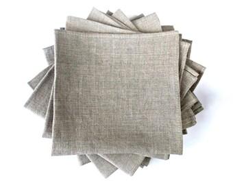 Undyed linen napkins Set of 10 Natural grey Cloth napkins 12 inch linen squares natural table linens