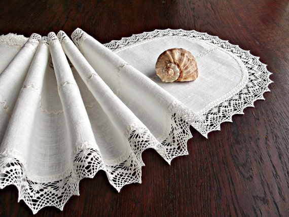 Extra long dining table runner White table linens by  : il570xN10211839767ibg from www.etsy.com size 570 x 427 jpeg 80kB