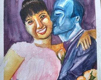Couple watercolor portrait