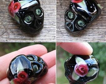 Sugar Skull lampwork bead XL