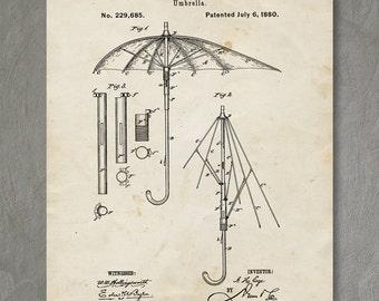Umbrella Patent Print, Umbrella Patent Poster, Retro Art, Umbrella Art, Umbrella Decor