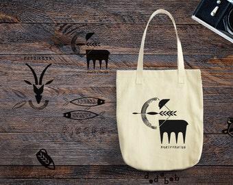 Zodiac Tote Bag Sacittarius Pisces Capricorn Aquarius / Astrology Bag / Zodiac Astrology Sacittarius Pisces Capricorn Aquarius Bag