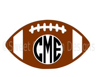 Football monogram SVG instant download design for cricut or silhouette