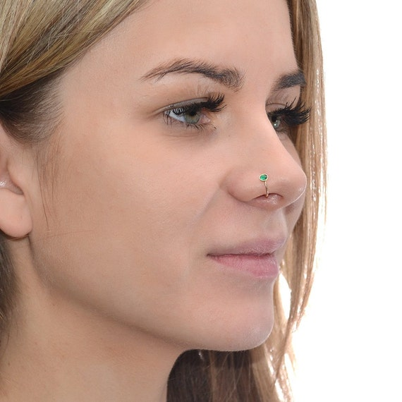 small 3mm emerald gold nose ring hoop earring by iroocca