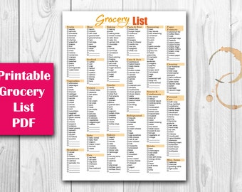 Grocery List Checkmark Printable PDF Instant Download
