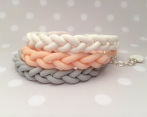 Customize Three original bracelets made from fimo clay. Beautiful grey, white and nude colour.