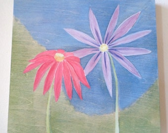 Daisy on Panel, ORIGINAL PAINTING on WOOD, Spring Flower