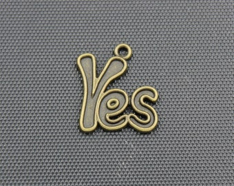15pcs Yes Charms Antique Bronze Tone 20x25mm - BH95