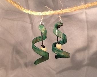 Swirl Ceramic Earrings - Handmade
