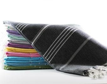 Classic | Black Bath Towel | Peshtemal Towel | Spa Towel | Turkish Towel | Picnic Blanket | Turkish Beach Towel | Beach Blanket | Sarong