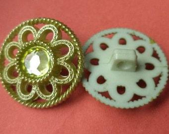 Rhinestone button buttons 9 RHINESTONE buttons green 21 mm (5372)