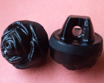 10 black glass buttons 11 mm (1330) small knobs