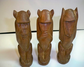 See no evil, Hear no evil and Speak no evil hand carved Monkeys from the Mid Century - Danish Design - Good Condition