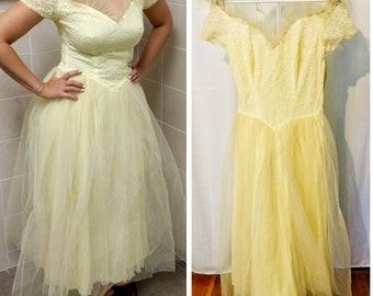50s Yellow Lace and Tulle Cupcake Dress