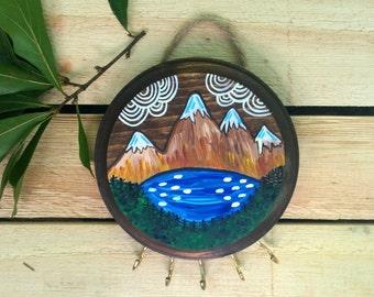 Mountain Art / Mountain Jewelry Display / Wood Mountain Art / Key Holder / Key Ring / Key Hook / Key Rack / Necklace Holder / Gift Women
