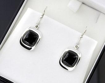 Black Amber Earrings, Sterling Silver Stone Earrings, Dangle Amber Earrings, Drop Amber Earrings, Black Stone Earrings, Silver Earrings