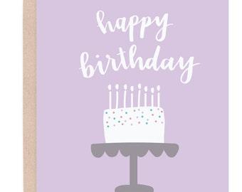 Birthday Cake Card. Happy Birthday Card. Confetti Cake Card. Cute Birthday Card. Birthday Card For Her. Girl Birthday Card. Calligraphy Card