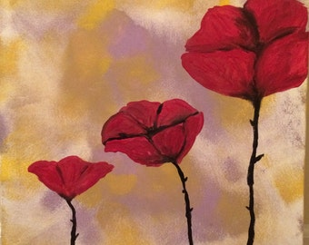 Original Red Poppies Acrylic Painting