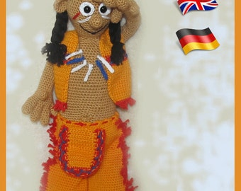 Native American Chief, Amigurumi doll crochet pattern, crocheted dolls pattern, amigurumi PDF pattern, Instant download