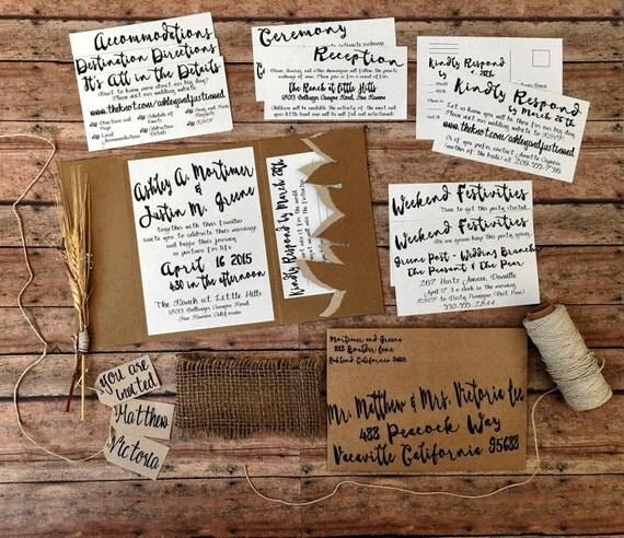 Pocketfold wedding invitation, pocket invitation, unique wedding invitation suite, eco friendly wedding, woodland wedding, DIY invites