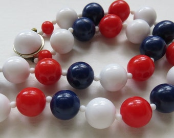 Vintage Japan Necklace Vintage 1950's Necklace Jewelry Vintage Jewelry Japan Plastic Beaded Necklace Costume Jewelry Necklace Red White Blue