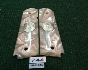 1911 grips,Colt,Kimber,Springfield,Ruger, Sig, taurus, pearl  faux , State of Vermont anniversary , sale, outlet item # 744