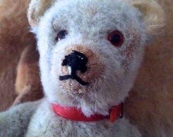 1930 Rare old vintage antique Chad Valley teddy bear with red collar