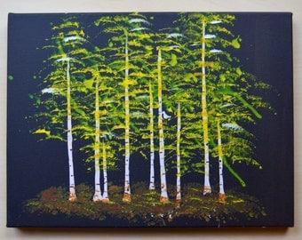 Golden Aspens Tree Painting for Children on Canvas