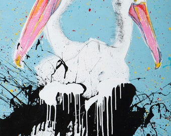 Pelican Art, Pelican Decor, Bird Print, Colorful Art, Wall Art Prints, Tropical Print, Original Print, Wall Decor, Home Print,  #504PL