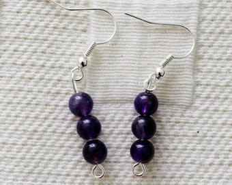 Simple Beauty Amethyst Earrings