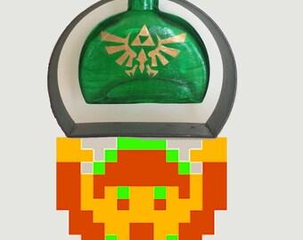 Handpainted Legend of Zelda Hyrule Crest Bottle with Air Plant