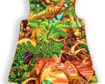 Dinosaur Sunrise Baby Pinafore Dress