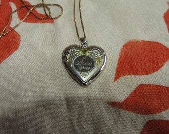 stunning vintage sterling silver I love you flowers locket