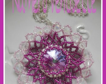 Pendant with chain, with swarovski rivoli set and seed beads, and handmade pink cyclamen