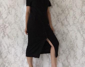 black linen dress | button front linen dress