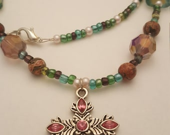 Serenity - Cross Necklace - Pink Green Earthtones Nature Christian