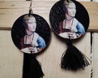 Wooden works of art handmade earrings