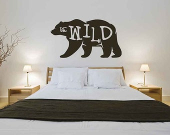 Bear Wall Decal Personalized Name Sign Bear Art Nursery