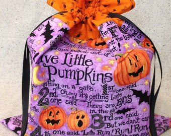 Five Little Pumpkins Story Fabric Trick-or-Treat Bag - Small