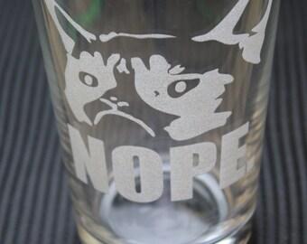 "Sad Cat ""NOPE"" Etched Bar Quality Pint Glass"