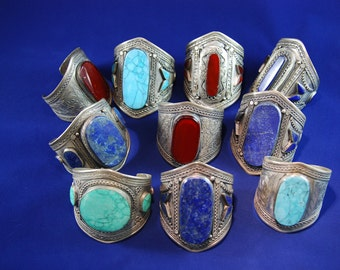 Adjustable cuffs with natural semi-precious gemstones
