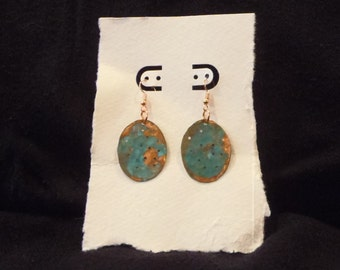 Green Perforated Copper Earrings