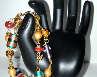 Carnival Style Double Strand Bracelet with Gold Chain