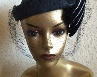 Vintage Adele Claire New York Straw Velvet 1950s Hat