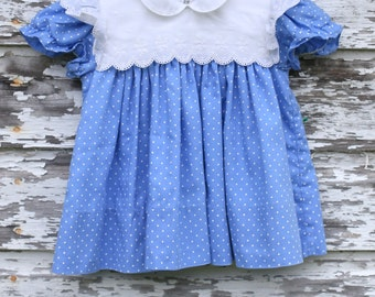 Vintage Blue & White Polka Dot Dress (3-6mos)