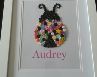 Personalised button Lizzy Ladybird,  ideal for any child's bedroom or nursery. Newborn gift/girl birthday gift/bedroom decor.