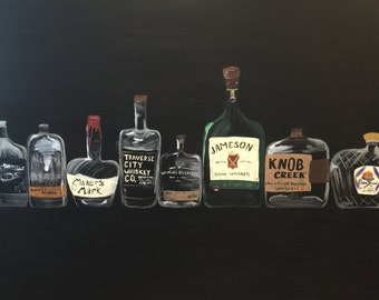 Whiskey Bottle Canvas Art